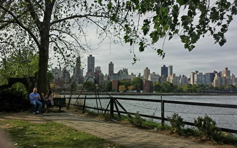 Enjoying the view of Manhattan from Long Island City