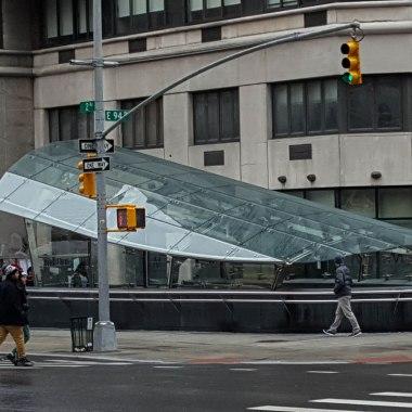 Glass encased station entrance