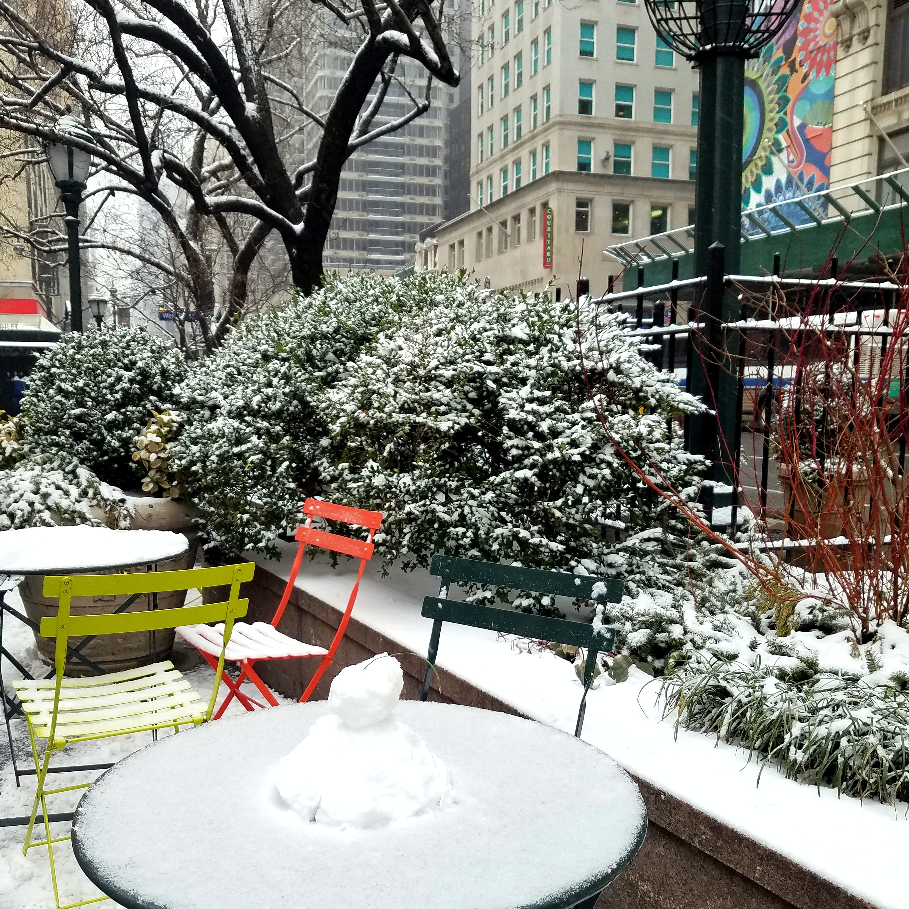 a snowy day in herald square, midtown manhattan, photo by LensMoments - Nichole Spates 2019