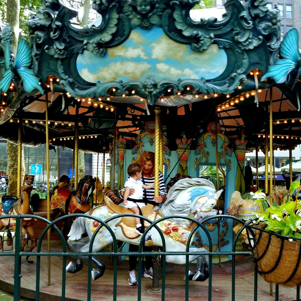 vintage carousel in bryant park, new york city