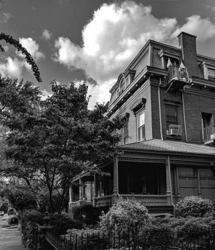 Historic house on clinton avenue in brooklyn new york, black and white photograph taken in 2019 (c) LensMomentsNS