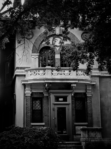victorian house on clinton avenue in brooklyn new york, black and white photograph taken in 2019 (c) LensMomentsNS