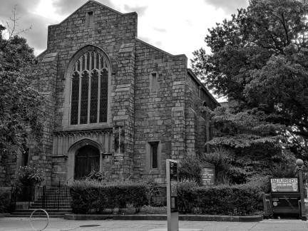 historic church on clinton avenue in brooklyn new york, black and white photograph taken in 2019 (c) LensMomentsNS