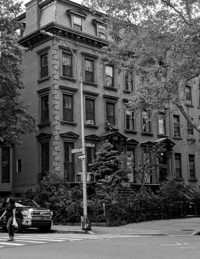 Row of houses at clinton and lafayatte avenues in brooklyn new york, black and white photograph taken in 2019 (c) LensMomentsNS