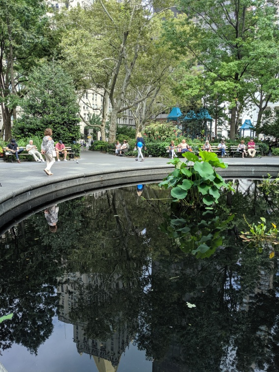 the reflecting pool at Madison Square Park in Manhattan, 2019, photo by LensMomentsNS