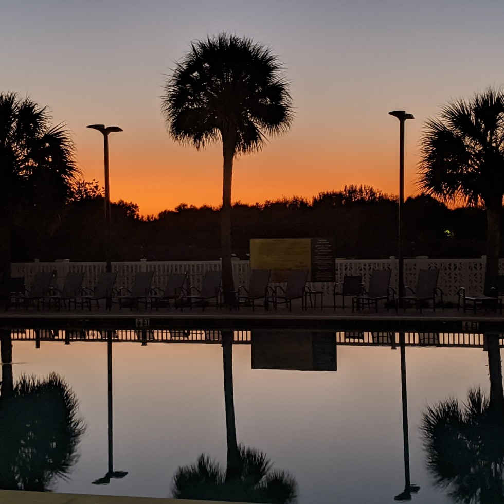 Sunset over a pool in Marion County, Fl, photo by LensMoments - Nichole Spates (c) 2019